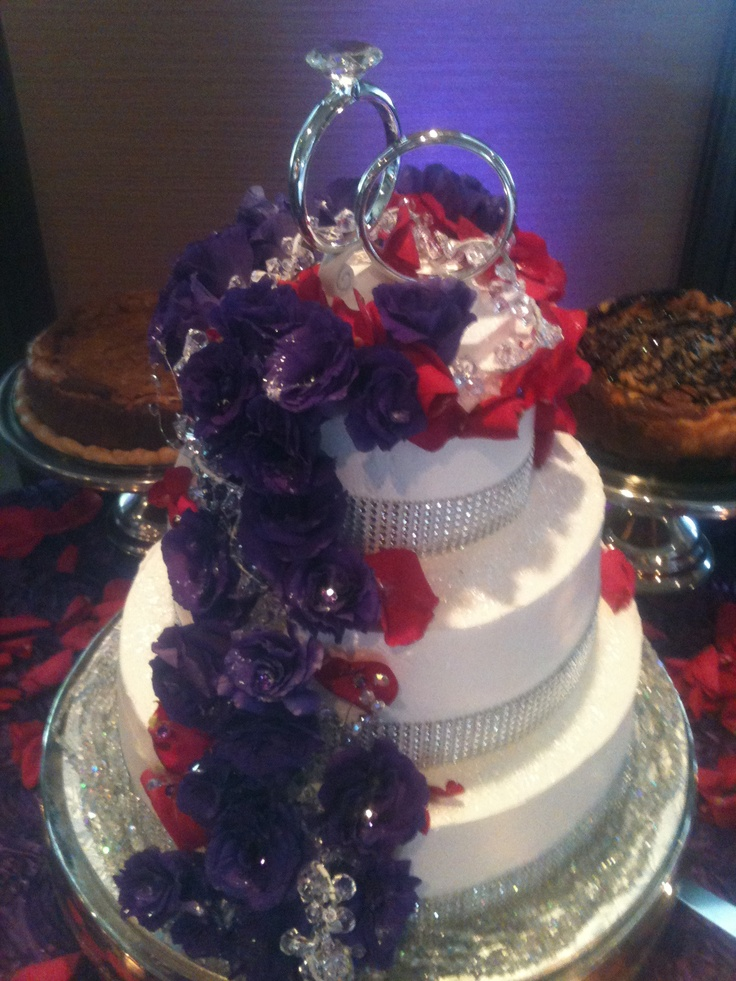 Purple & Red Ring Glitz & Glamor wedding cake with side groom's cheesecakes - triflescakes.com