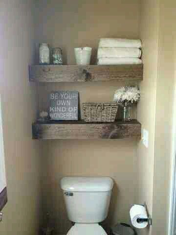 Love this. Don't think we have this kind of space in any of the bathrooms, but...cute.