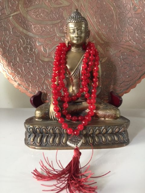 Sally McBride Design RED JADE Mala comprised of 108 beads 8mm diameter faceted with silver guru bead and tassel