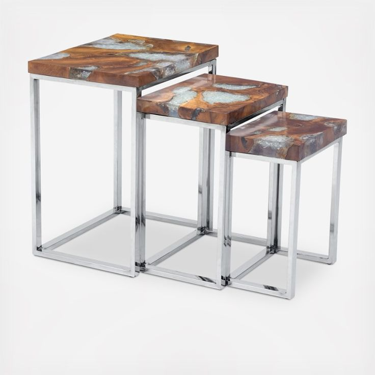 Best Console And Side Tables Solid Wood Encased In Clear Resin - Clear nesting tables