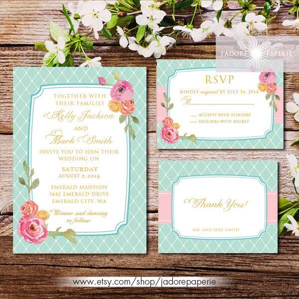 Pastel Wedding Invitation, Printable, Pink, Coral, Teal, Watercolor Wedding Invite, Peonies, Geometric Wedding Invitation, jadorepaperie by JadorePaperie on Etsy https://www.etsy.com/listing/218043429/pastel-wedding-invitation-printable-pink