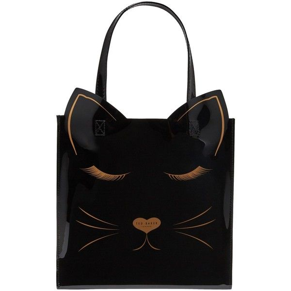 Ted Baker Linear Cat Small Icon Shopper Bag ($39) ❤ liked on Polyvore featuring bags, handbags, tote bags, shopper tote, hand bags, purse tote bag, cat handbag and handbag purse