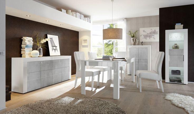 Complete woonkamer inboedel Easy verkrijgbaar in Hoogglans wit of Hoogglans wit gecombineerd met Betonlook fronten