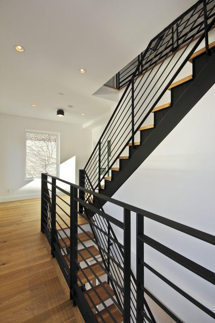 Stair To Roof Terrace Custom Matte Black Steel Stair