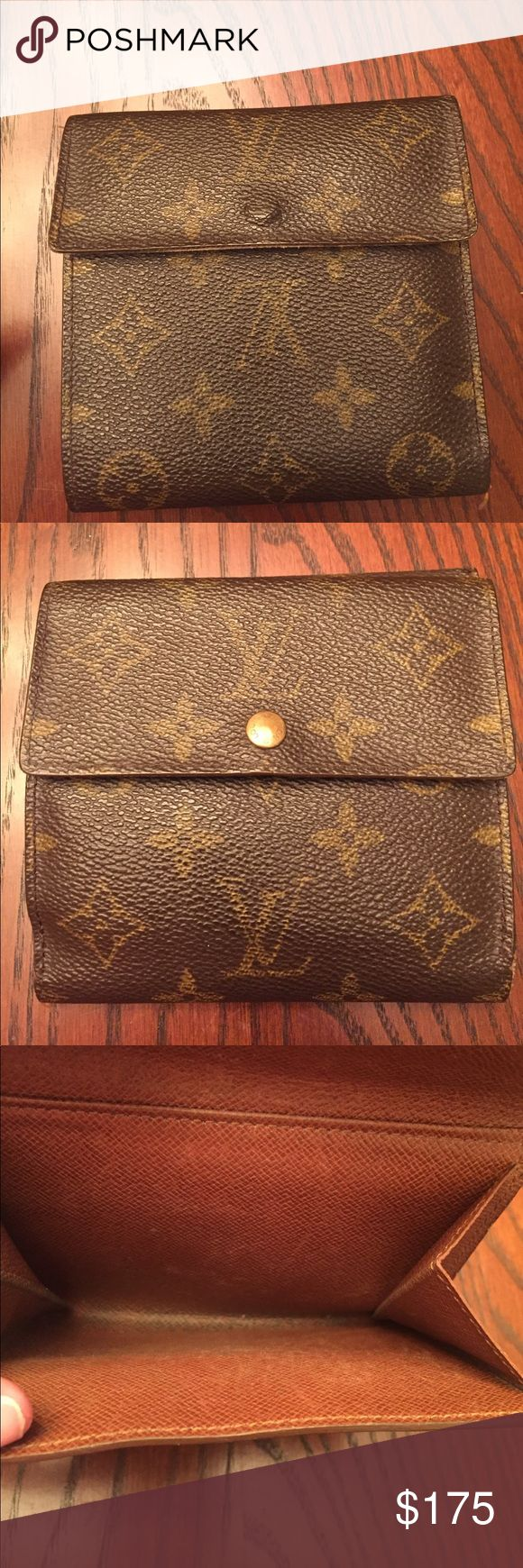 Louis Vuitton wallet Without giving away my age my parents bought this for me almost 20 years ago. Since I remember the cost being 525 dollars and thinking I can not believe they bought me this wallet. Purchased from Louis Vuitton in the Houston Galleria. For the age I would say in great condition, and it has just sat in a draw for years. Needs new life. Always happy to take more pics. Some scratching on inside and wear where money slides in. On the edges of wallet some pealing, but smooth…