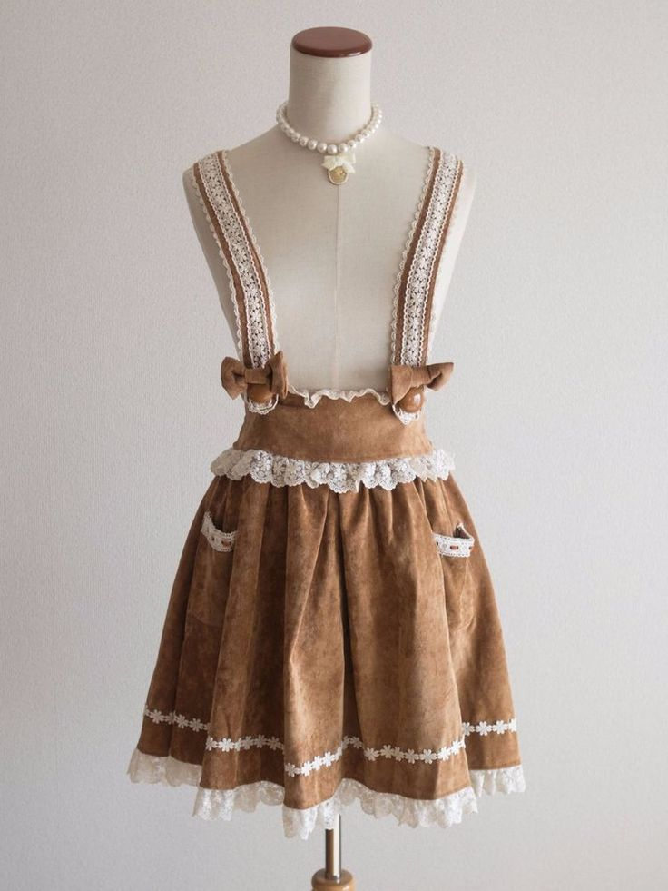 LIZ LISABow Suspenders Suede Jumper Skirt JSK Japan Size M Romantic Lolita #LizLisa #PeplumTunicJumperDressJSK #Shibuya109Lolitafashion