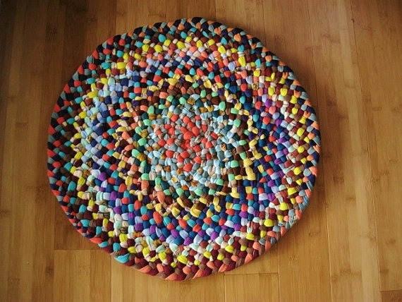 Handmade Bold Braided Colorful Rug Mat Chair Pad or by mrsginther, $55.00