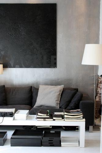 The wall art thru monochromatic approach. Matte versus gloss and texture