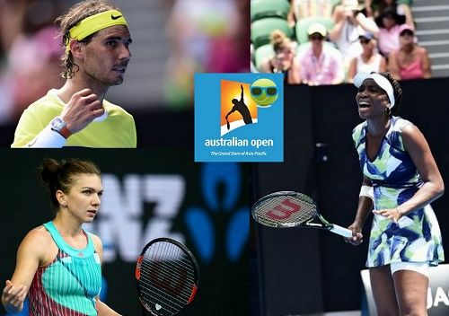 Find the winners, losers from day-2 of 2016 Australian open. Top players like Rafael Nadal, Simona Halep, Venus Williams lost round-1 matches.
