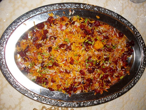 Persian Rice with sour cherries, saffron, orange zest and pistachios :)  My all time favorite!!