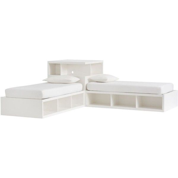 PB Teen Store-It Corner Media Set, Twin, Water-Based Simply White ($1,439) ❤ liked on Polyvore featuring home, furniture, storage & shelves, entertainment units, cubby furniture, white storage furniture, white furniture, home storage furniture and pbteen
