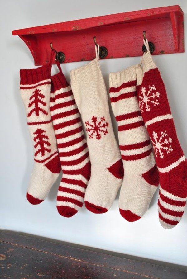 creme red gift handmade Handknit Christmas Stocking medium decor stripe