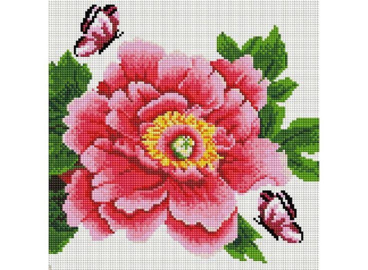 Набор Белоснежка для изготовления картин со стразами на подрамнике арт.БЛ.333-ST-S Розовый цветок и бабочки 40х50см