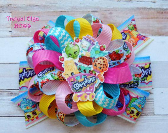Shopkins Inspired Hair Bow Shopkins Bow Shopkins Party Favors Shopkins Birthday Party Shopkins outfit Girls hair bows Shopkins party