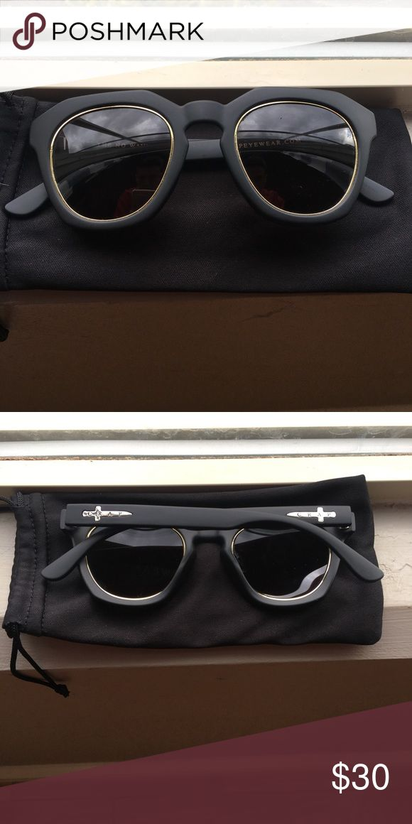 Men's Crap Eyewear - The No Wave - Sunglasses Crap Eyewear - The No Wave Black Frame - Black Lenses - Gold Inlay Excellent Used Condition - These Look SHARP Crap Eyewear Accessories Sunglasses