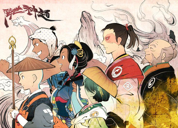 Aang, Sokka, Katara, Toph, Zuko, and Uncle Iroh
