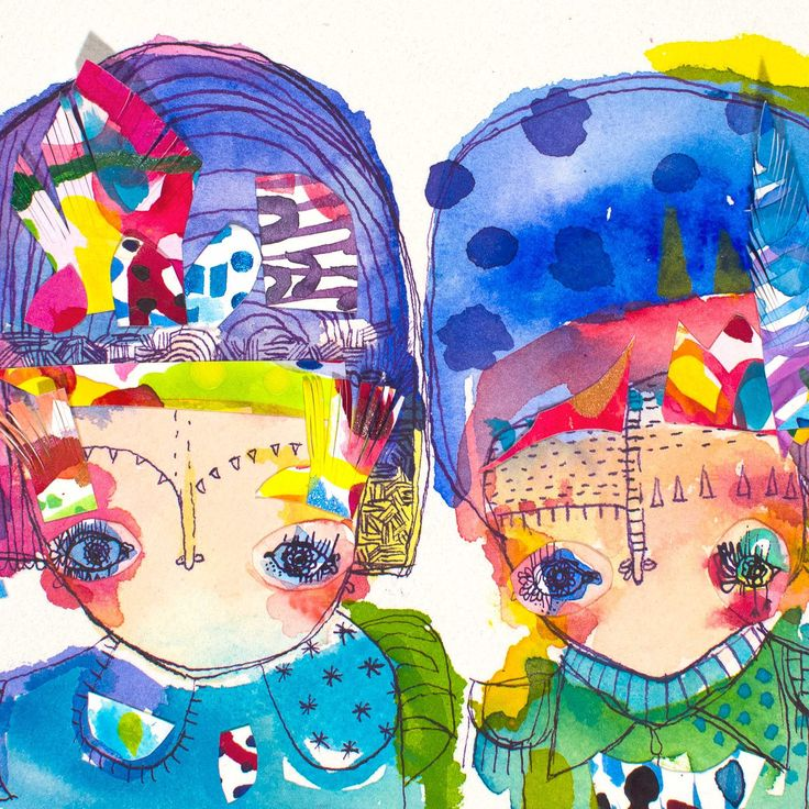 Fru and Filbert - AVAILABLE inky watercolour collage http://bit.ly/1ur2Zze