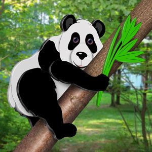 """3D Panda Bear Pattern. """"Who doesn't like Pandas?"""" You can have this adorable panda in your tree just by following our easy to use pattern and a few simple instructions. 20""""H x 33""""W x 10""""D. Pattern #2415 $12.95 ( crafting, crafts, woodcraft, pattern, woodworking, yard art, animal )"""
