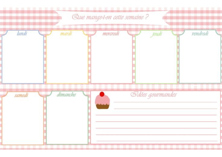 Modèle de menu de la semaine à imprimer.Planning de repas sous forme de semainier vierge