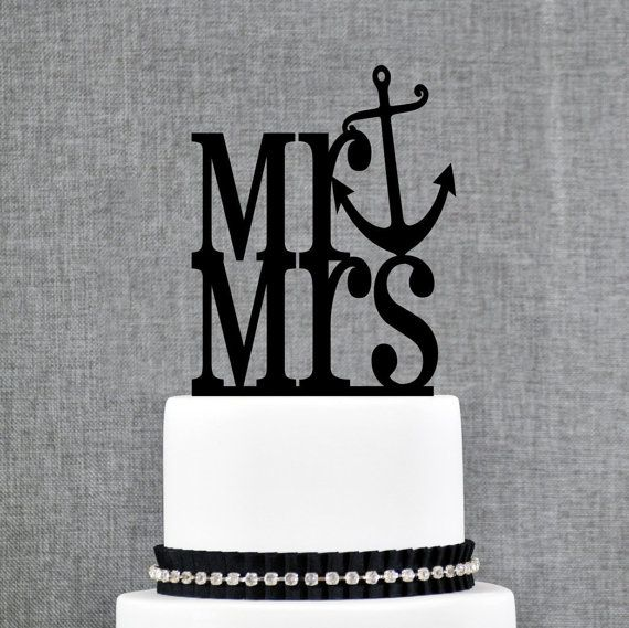 Mr and Mrs Cake Topper with Anchor Accent – Nautical Wedding Cake Topper Available in 15 Colors and 6 Glitter Options- (S110)