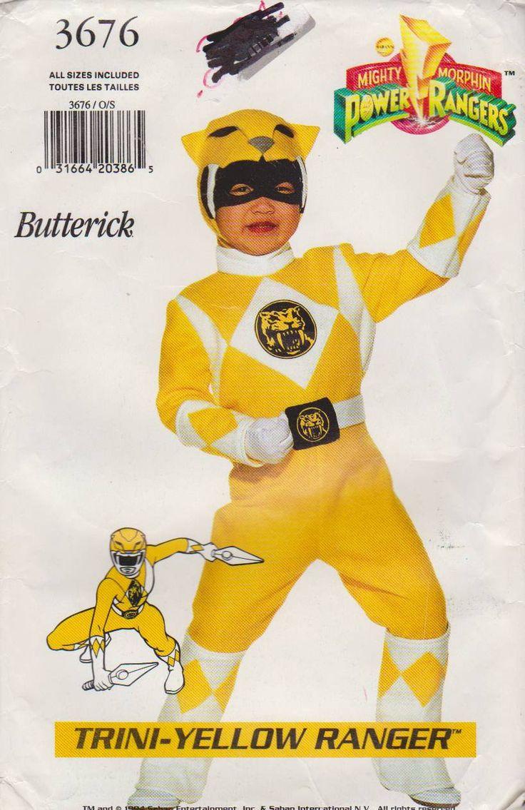 Butterick Sewing Pattern 3676 Child's Boys Girls Sizes 4-14 Power Ranger Costume Trini-Yellow    Butterick+Sewing+Pattern+3676+Child's+Boys+Girls+Sizes+4-14+Power+Ranger+Costume+Trini-Yellow