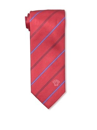67% OFF Versace Men's Striped Tie, Red/Blue/Black