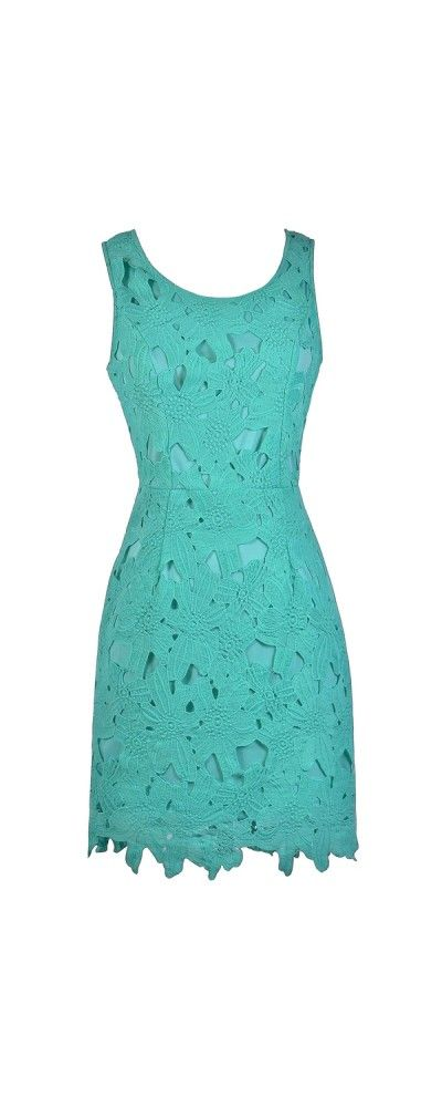 Lily Boutique Mary Oversized Floral Lace Sheath Dress in Aqua, $46 Aqua Lace Sheath Dress, Teal Bridesmaid Dress, Cute Lace Dress www.lilyboutique.com