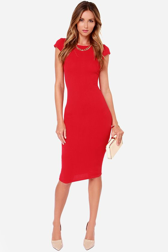 Rubber Ducky Oh So Midi Red Midi Dress at LuLus.com!