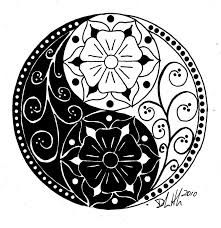 yin and yang tattoo design (floral style)