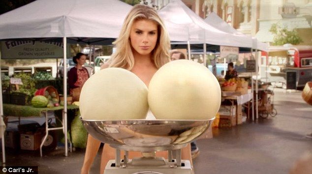 Giant melons: Charlotte McKinney, 22, is famed for her all natural assets - which is why Carl's Jr. picked her to sell their new All-Natural Burger