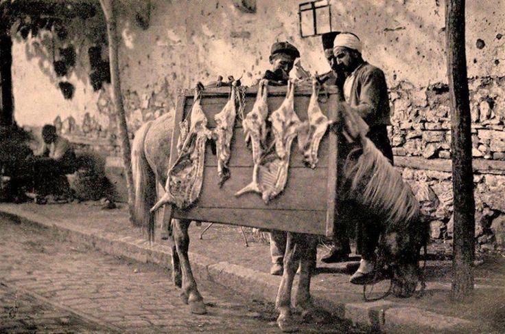 Outdoor meat market in Proussa, Asia Minor (modern day Bursa) in 1906