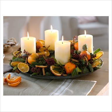 oranges, candles and herbs