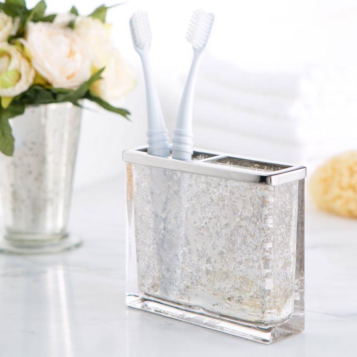 Mercury Glass Vanity Toothbrush Holder