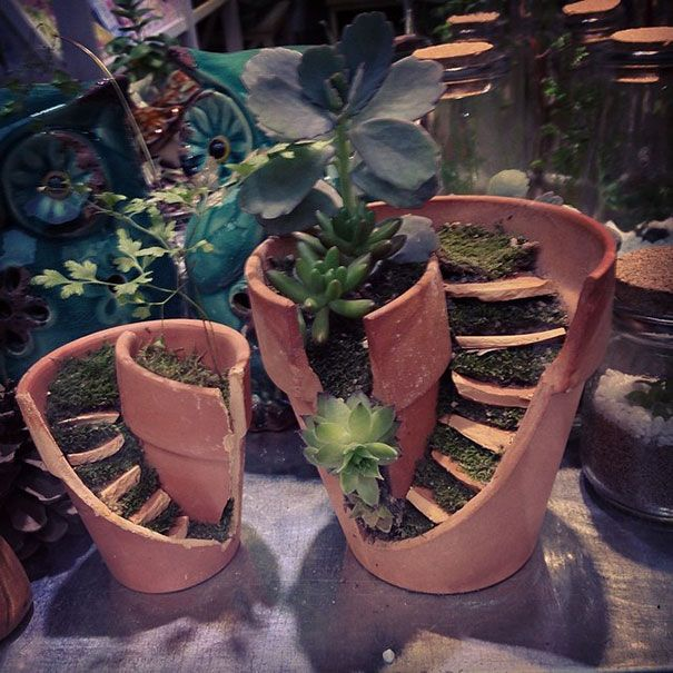 Good idea for re-using a broken pot - just pretend you meant it to be that way and make a 'fairy garden' -- some of these examples are so cute!