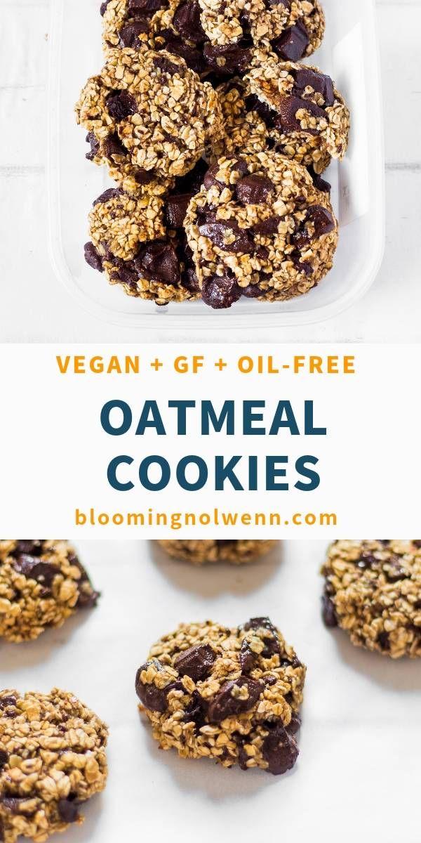 3 Ingredient Oatmeal Chocolate Chip Cookies Vegan Gluten Free Blooming Nolwenn Recipe Healthy Vegan Snacks Healthy Chocolate Chip Vegan Cookies
