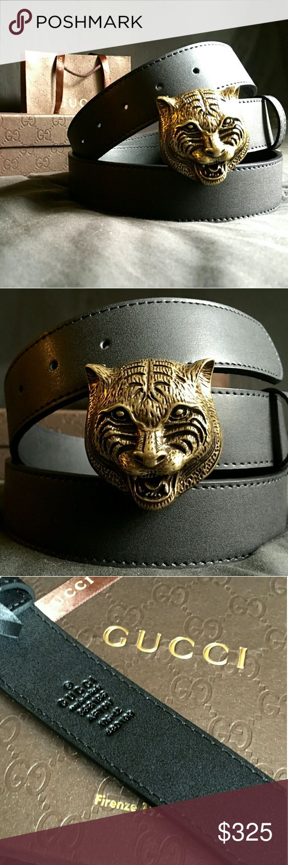Gucci Feline Belt!!! Gucci Feline Belt W/ Antique Brass Hardware!!!  Brand New!!!  Unisex....For Man Or Woman!!!  Size Available - 36, 38, 40, 42!!!  Includes Gucci Belt, Gift Box, Dust Bag, Ribbon, Etc!!!  Great Gift Idea!!!  Last Available!!!  Check My Listings For Other Great Items!!!             Ignore: Gucci gg monogram casual dress belts men's women's guccissma leather monogram web tiger bee embossed panther wool cable knit blooms supreme print angry cat ufo dragon studded snake double…