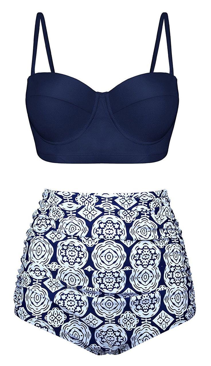 Women Retro Vintage Print Ruffle High Waisted Swimsuit Bikini Set – Navy Blue – CG180GYTY0D