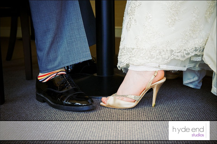 A wedding detail from Victoria and Richard's Monkey Island wedding. #wedding shoes and socks