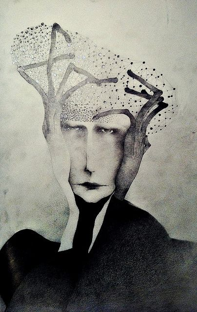 """man with hat made out of stars"" by Sonja Barbaric/ (pencil on paper)"