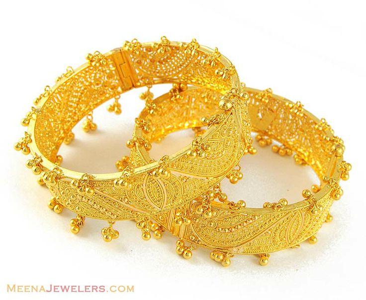 Indian Bangles | 22Kt Gold Kadas with Googri - BaKa4831 - 22Kt Gold Kadas (2 pcs) with ...