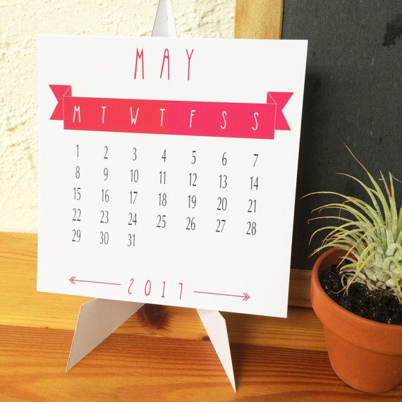 2017 Red-banner Square Desk Calendar with Stand  by paper4download