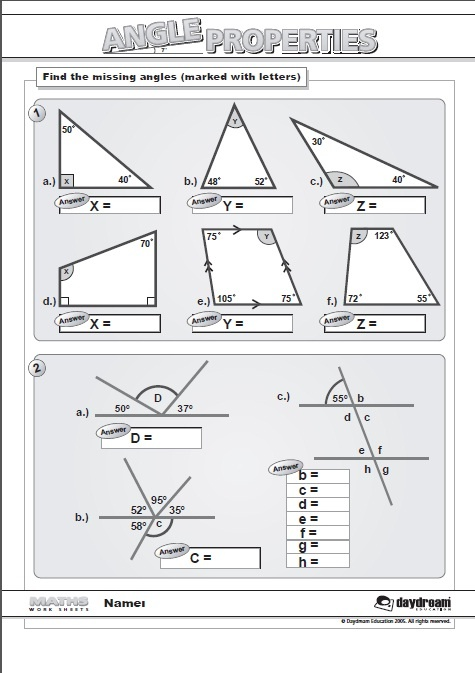 Maths Angles Worksheets Gcse Angles In Parallel Lines Gcse Questions By Labrown20 Teaching