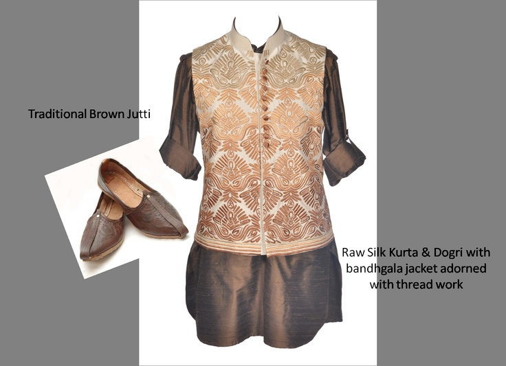 Look 2- For Him    A traditional kurta dogri set with a bandhgala waist coat- keep the look simple yet chic with brown mojaris