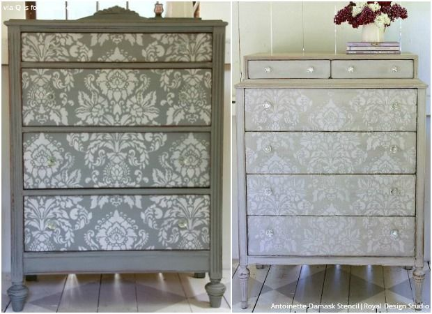 Antoinette Damask Wall Stencil476 best Stenciled and Painted Furniture images on Pinterest  . Diy Home Painting Ideas. Home Design Ideas