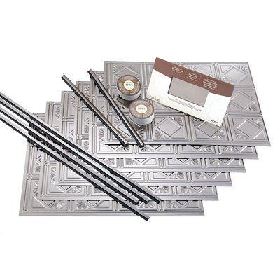 """Fasade Traditional 18.25"""" x 24.25"""" PVC Backsplash Panel Kit in Brushed Nickel"""