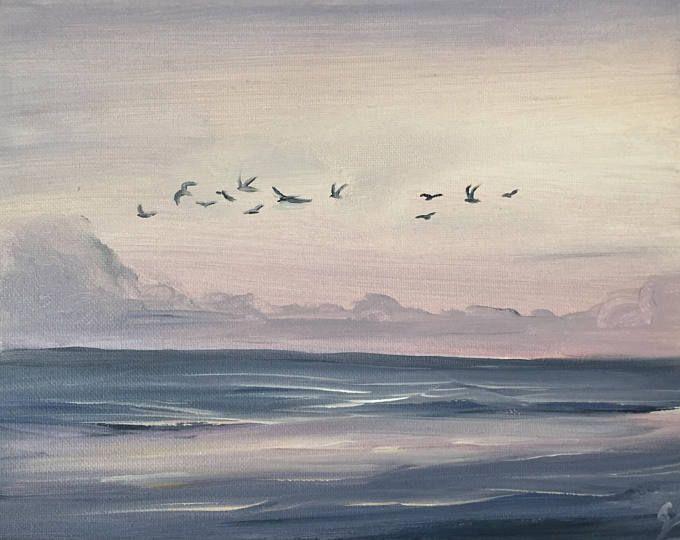 Seagulls Painting Coastal Landscape Ocean Sunrise Painting Seascape Beach Art Ocean Scene Small Purple Seaside Paintings Ocean Painting Sunrise Painting