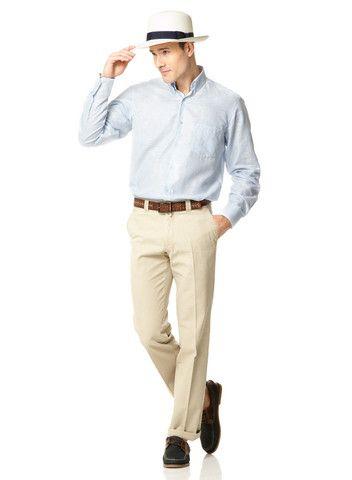 Mens Cotton Khaki Chinos | Mens Travel Clothing | Gerald Webster