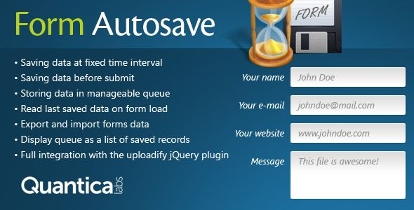 Form Autosave is a set of PHP classes and jQuery plugins which allows to keep the content of the forms for later editing or saving. Form data are stored in the session as a FIFO queue records.