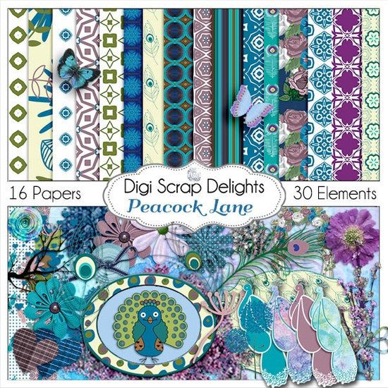 Peacock Digital Scrapbook Kit Radiant Orchid, Turquoise, Aqua Blue, Purple, Green for Digital Scrapbooking, Cards, Instant Download on Etsy, $5.99