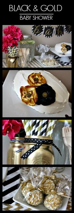 Black & Gold Baby Shower Theme & Ideas for Inspiration! This classic color combo with a pop of pink is beautiful for a gender neutral shower! #MomsTrustHuggies #ad